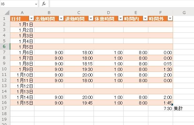 残業時間Excel